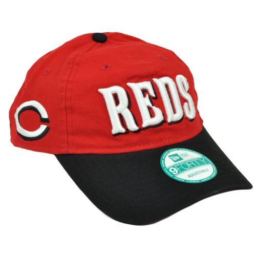 MLB New Era 9Forty 940 Team Canvas Clip Buckle Cincinnati Reds Hat Cap Red Blk