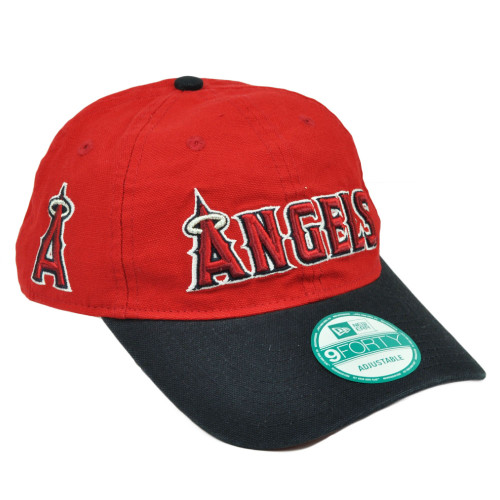 MLB New Era 9Forty 940 Team Canvas Clip Buckle Los Angeles Angels Hat Cap Red