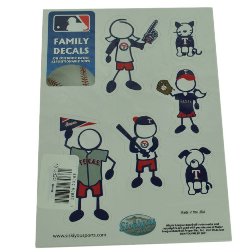MLB Texas Rangers Family Decal Set Car Small Fan Repositionable Vinyl Automobile