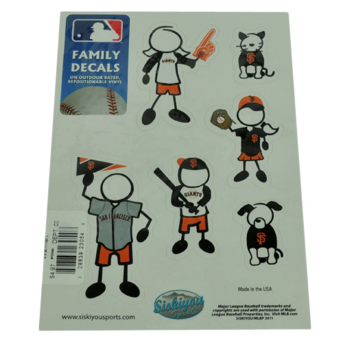 MLB San Francisco Giants Family Decal Set Car Repositionable Vinyl Automobile