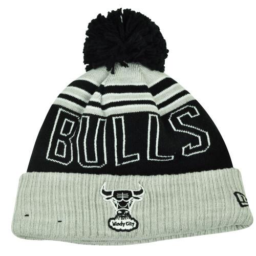 f2ca7638ce8 NBA New Era Winter Blaze Pom Pom Cuffed Knit Beanie Chicago Bulls Hat Gray  Toque