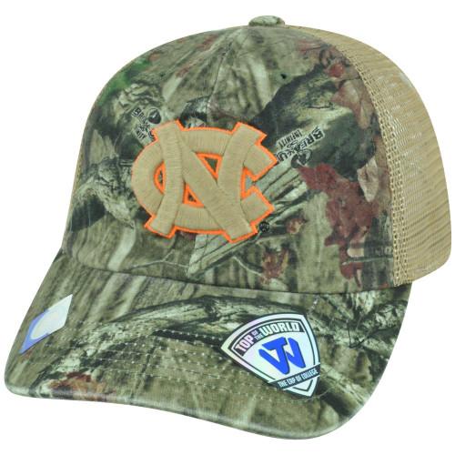 NCAA North Carolina Tar Heels Camo Garment Wash Bounty Snapback Trucker Cap Hat