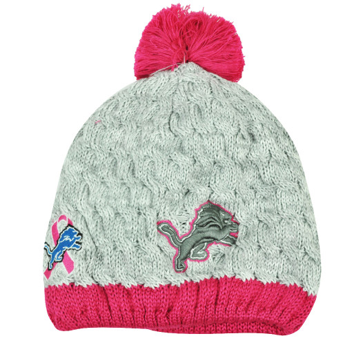 NFL New Era Breast Cancer Awareness Knit Beanie Detroit Lions Pink Womens Hat