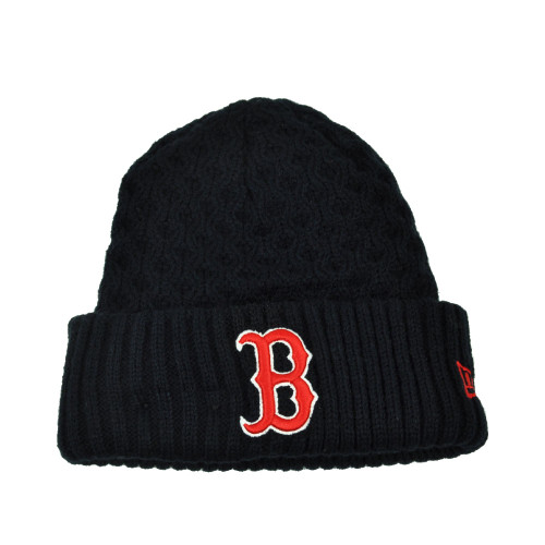 a7f3d178e6442d MLB New Era Cuffed Cutie Boston Red Sox Crochet Womens Knit Beanie Hat Blue