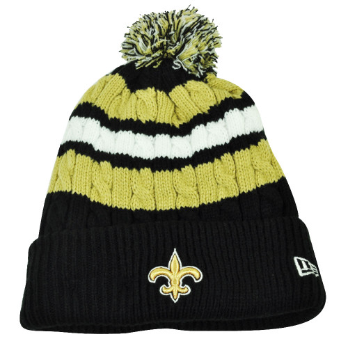 NFL New Era Wintry Warm Womens Knit Beanie Striped Cuffed New Orleans Saints Hat