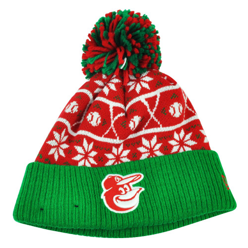 MLB New Era Sweater Chill Baltimore Orioles Pom Pom Cuffed Knit Beanie Winter
