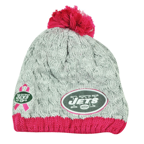 NFL New Era Breast Cancer Awareness Knit Beanie New York Jets Grey Pink Womens