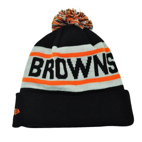 NFL New Era Biggest Fan Pom Pom Striped Cuffed Cleveland Browns Knit Beanie  Hat d394c2d1d
