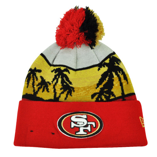 0ae8e5886190b NFL New Era San Francisco 49ers Winter Beachin Knit Beanie Pom Pom Cuffed  Hat