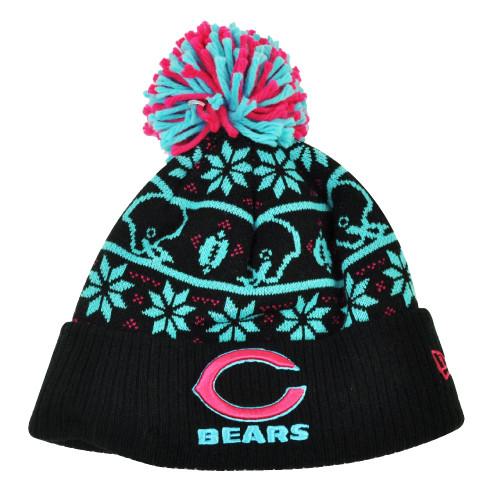 NFL New Era Sweater Chill Chicago Bears Pom Pom Cuffed Knit Beanie Winter Hat