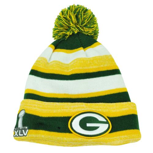 NFL New Era Super Bowl XLV Sport Knit Green Bay Packers Knit Beanie Striped Hat
