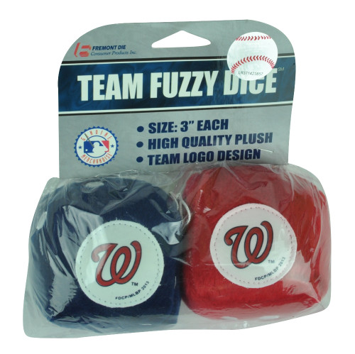 MLB Washington Nationals Soft Fuzzy Dice Plush Red Blue Car Truck Furry Hang