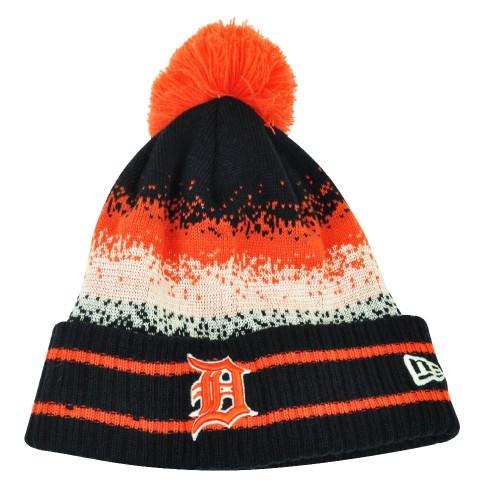MLB New Era Spec Blend Detroit Tigers Cuffed Pom Pom Knit Beanie Hat Toque Blue