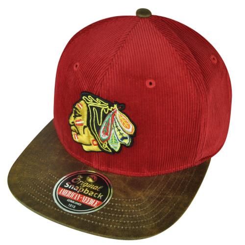 NHL American Needle Chicago Blackhawks Corduroy Clip Buckle Hat Cap Flat Bill