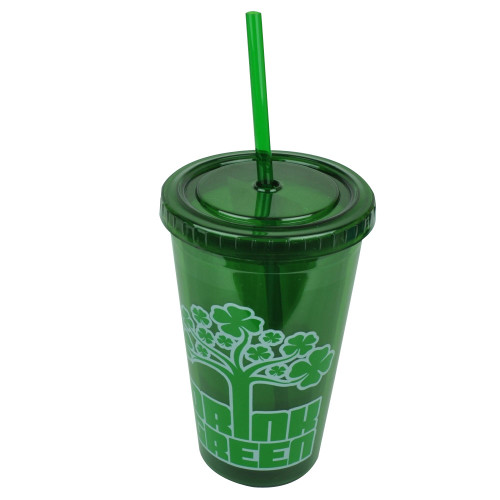 St Saint Patricks Day Drink Green Lucky Tumbler Cup Straw 16oz Water Plastic