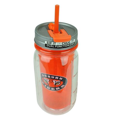 NCAA Auburn Tigers Tumbler Cup Straw 16oz Cool Gear Insulated Mason Jar Drink