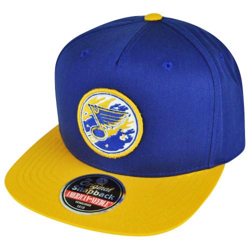 NHL American Needle St Louis Blues Snapback Flat Bill Hat Cap Blue Yellow Sports