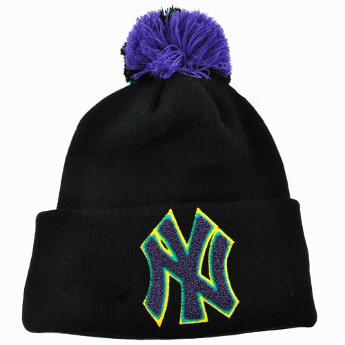 MLB New Era New York Yankees Aqua Hook Knit Beanie Pom Pom Cuffed Black Skully