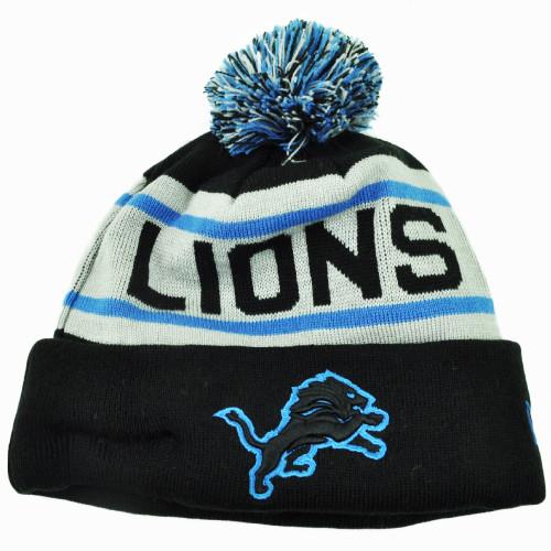 NFL New Era Detroit Lions Biggest Fan Knit Beanie Pom Pom Cuffed Stripe Hat Blk