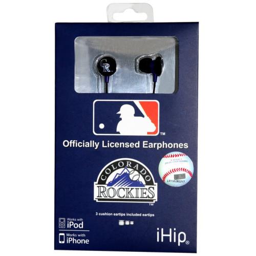 MLB Colorado Rockies iHip Headphones Ear Phones Music Audio MP3 Sport Fan Black