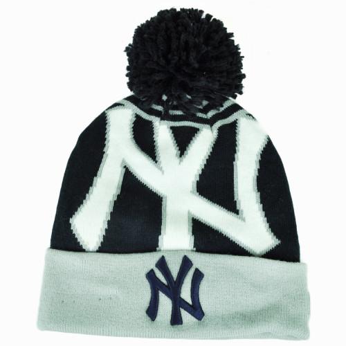 7de5ef92b31487 MLB New Era New York Yankees Logo Whiz Pom Pom Knit Beanie Cuffed Hat Toque  Blue