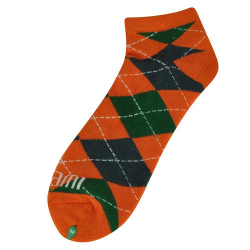 NCAA Miami Hurricanes Ankle Socks Spirit Game Day Argyle Canes UM Logo Orange