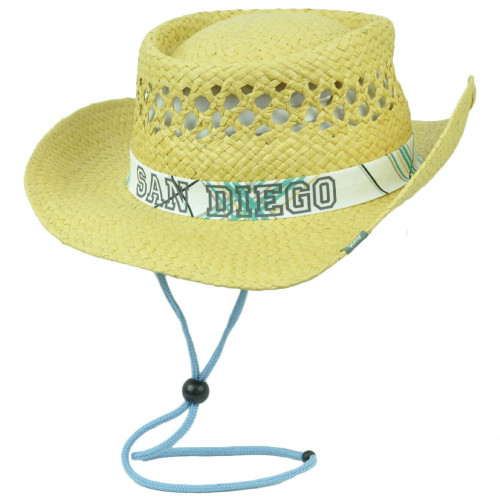 San Diego California CA City Paper Straw Fedora Hat State USA Adjustable Strap
