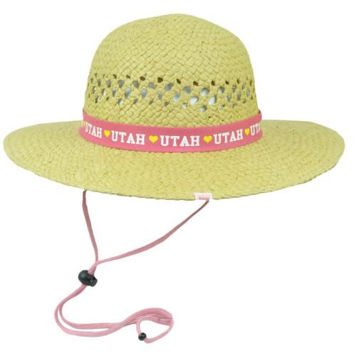 Heart  Utah Beehive State Round Tiller Sun Hat Paper Straw Women USA America