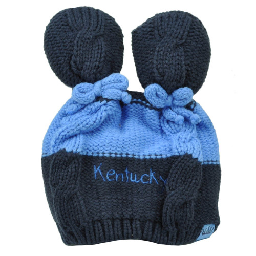e66aa232864 Kentucky State Infant Striped Knit Beanie Navy Blue Crochet Ear Ball Hat USA