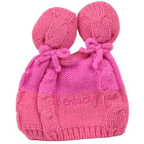 Kentucky State Infant Striped Knit Beanie Pink Crochet Ear Ball Hat USA America