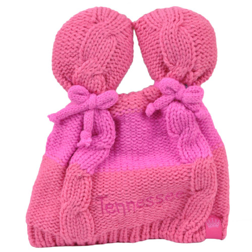 Tennessee State Infant Striped Knit Beanie Pink Crochet Ear Ball Hat USA America