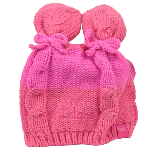 Idaho State Infant Striped Knit Beanie Pink Crochet Ear Ball Hat USA America