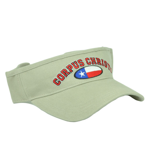 info for dd72f 8b726 Corpus Christi Texas City State Beige Sun Visor Adjustable Hat Beaches Bay