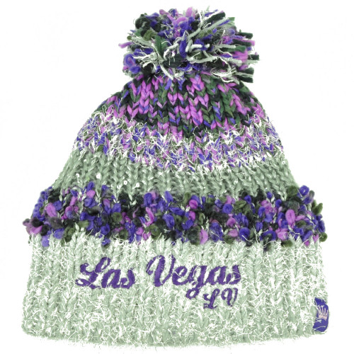 949d69114f1 Las Vegas City Womens Knit Beanie Crochet Pom Pom Sequin Fuzzy Purple  Striped