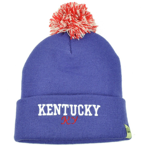 d090ac45414 Kentucky Pom Pom Cuffed Knit Beanie Bluegrass State USA Acrylic Womens  Purple