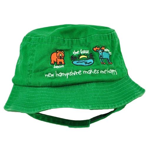 New Hampshire Makes Me Happy Moose Lake Bear Green Toddler Sun Bucket Hat State