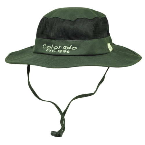 Colorado State Gray Booney Sun bucket Hat Chin Strap Mesh Band Outdoors USA