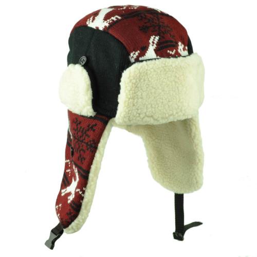 Alabama State Trapper Aviator Knit Beanie Fleece Nordic Hat Burgundy Ear Flap