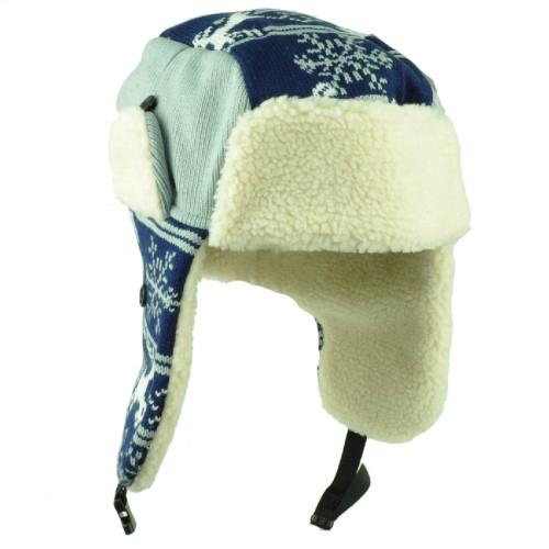 7019094bacaa3 Dallas Trapper Aviator Knit Beanie Fleece Nordic Hat Ear Flap Texas Navy  Gray