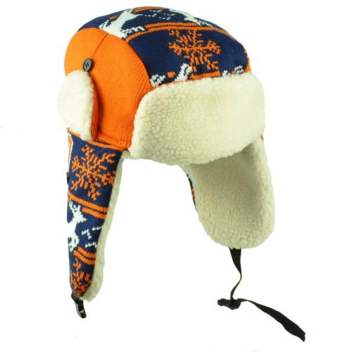 b9000a31139 Chicago Trapper Aviator Knit Beanie Fleece Nordic Hat Ear Flap Blue Orange  City