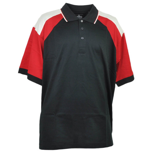 Red Jacket Collar Polo Black Red Button Dress Shirt Mens Adult Short Sleeve