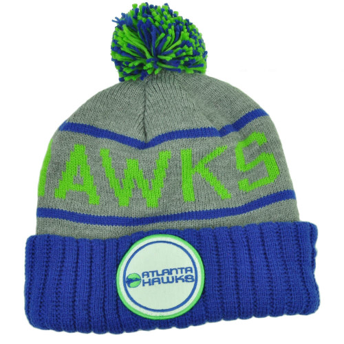 Mitchell Ness Atlanta Hawks Cuffed Pom Pom Knit Beanie Skully Blue Gray Winter