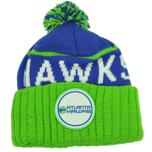 7ce16b9f Mitchell Ness Atlanta Hawks Cuffed Pom Pom Knit Beanie Skully Blue Green  Winter