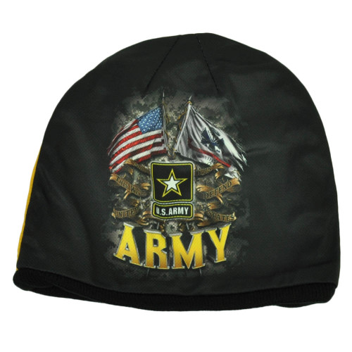 U.S Army Sublimated Military United States Black Cuffless Knit Beanie Defend Hat