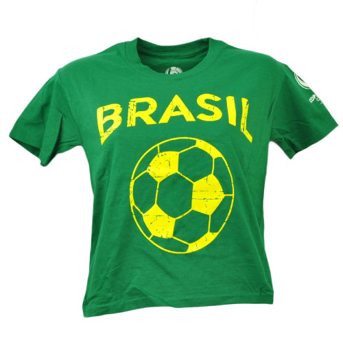 Brasil Copa America Centenario USA 2016 Tshirt Tee Green Youth Soccer Futbol
