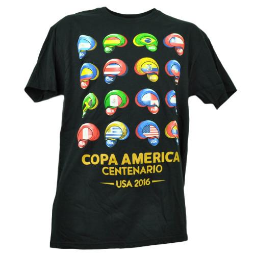 Copa America Centenario USA 2016 Tshirt Tee Soccer Futbol Mens Black Crew Neck