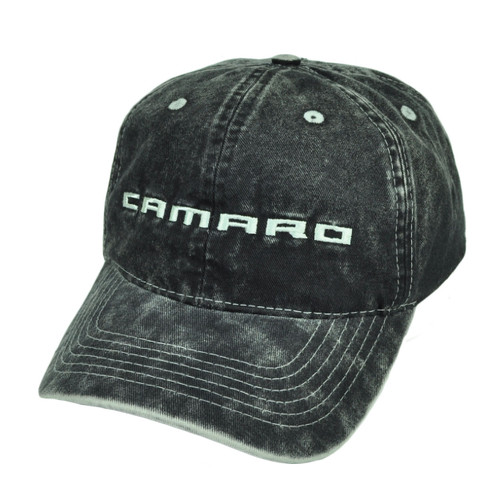 9292b9fdf8a Camaro Dark Denim Wash Black Relaxed Sun Buckle Hat Cap General Motors Cars