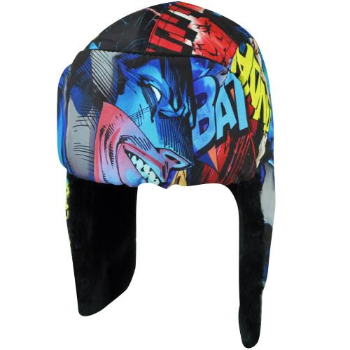 DC Comics Batman Warner Bros Printed Peruvian Beanie Cartoon Faux Fur Flap Hat