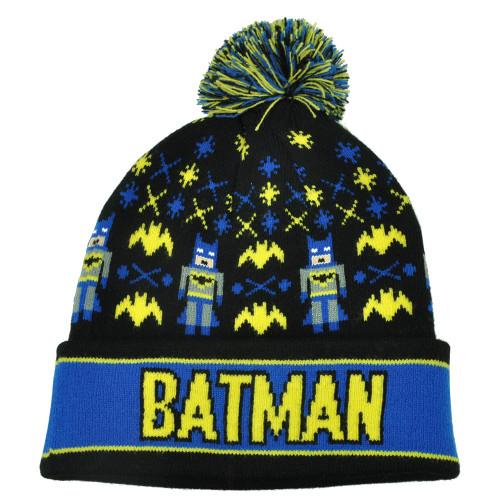 DC Comics Batman Cartoon Logo Intarsia Pom Pom Cuffed Beanie Knit Skully