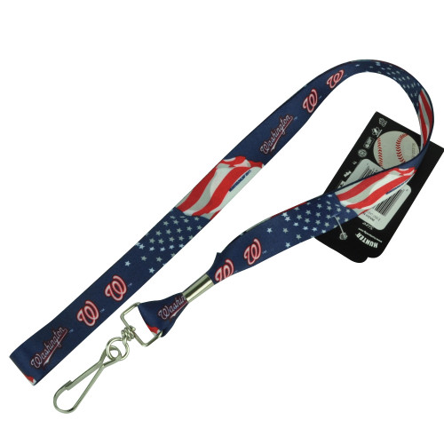MLB Washington Nationals Detachable Clip Key Chain Landyard Badge Holder Logo